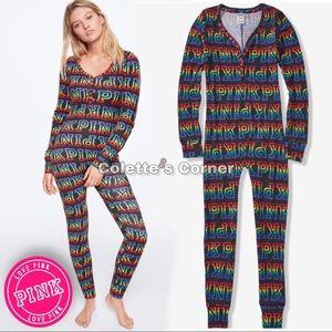 VS Pink Multicolor Rainbow Thermal Onesie Pajamas